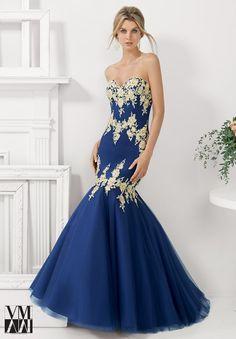 Mori Lee VM 71141 Dress Embroidered Tulle Trumpet Skirt - Trumpet Skirt, Strapless, Sweetheart