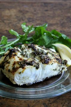 pan-broiled halibut with lemon, capers, parsley