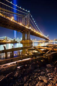The Manhattan Bridge & The Tribute in Light