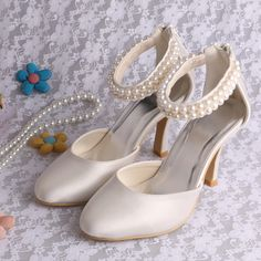 80091d097d2f Wedopus Europe Ivory Satin Pearl Bridal Evening Party Shoes in Summer  Spring Free Shipping Plus Size-in Women s Pumps from Shoes on  Aliexpress.com