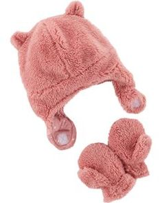 Baby   Toddler Girl Carter s Bear Hat   Mittens Set 11cba2666bf6
