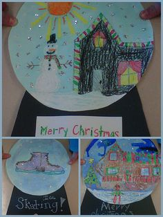 Super cute and fun art activity to do with kids around the holidays.  All you need is some cardstock, watercolors, white paint, black construction paper, coloring utensils, cups of water, and TADA, a nice Christmas art project! (Courtesy of- what the teacher wants)