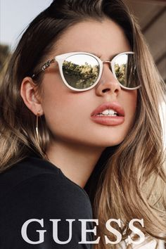 GUESS EYEWEAR COLLECTION The eyewear collection includes a full range of sunglasses and optical frames that embody the core values of the Guess brand and offer a wide range of timeless, stylish designs. Classic Guess shapes are updated wit Reflective Sunglasses, Stylish Sunglasses, Sunglasses Online, Mirrored Sunglasses, Sunglasses Women, Summer Sunglasses, Eyewear Online, Face Shapes, Big Night