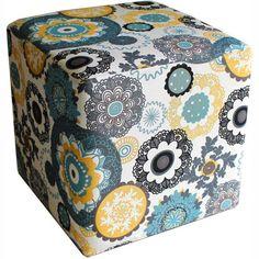 Puff Quadrado Decorativo Tecido Floral - Americanas.com