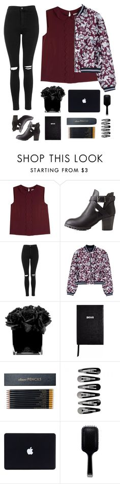 """Bomber jacket"" by genesis129 ❤ liked on Polyvore featuring RED Valentino, Charlotte Russe, Topshop, Markus Lupfer, Hervé Gambs, Sloane Stationery and GHD"
