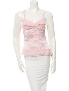 Pink Diane von Furstenberg silk sleeveless blouse with multiple skinny straps, sweetheart neck, vertical stitching accents throughout and sheer accents at bust and waist.