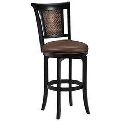 Hillsdale Furniture Cecily Swivel Counter Stool, Black/Honey Finish