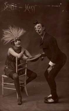 Vintage Circus. Street and Mary. Postcard. Performers.