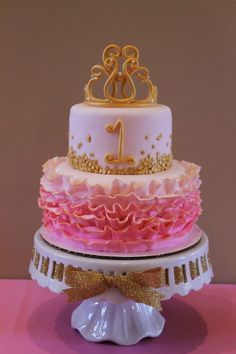 Pink and Gold First Birthday Cake via Pretty My Party