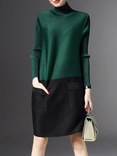 Shop Sweater Dresses - Green H-line Long Sleeve Turtleneck Color-block Sweater Dress online. Discover unique designers fashion at StyleWe.com.