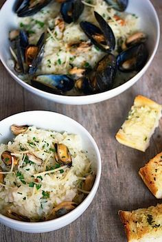 Lemon Fennel Risotto with Mussels