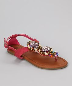 Take a look at this Fuchsia Embellished Beach 45 Sandal by Anna Shoes on #zulily today!