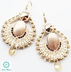 bridal rose gold earrings - Atelier magia by Katarzyna Wysocka Soutache Earrings, Rose Gold Earrings, Pearl Earrings, Bridal, Beads, Inspiration, Jewelry, Ear Studs, Atelier
