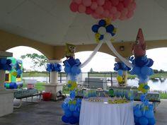 Sponge bob theme balloon decoration. Park kids party, pavilion balloon decoration. www.dreamarkevents.com
