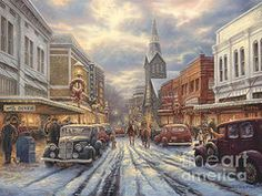"""""""Christmas Art - The Warmth of Small Town Living""""  by Chuck Pinson"""
