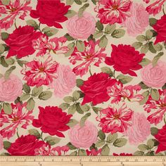 Rose Garden Stripped Rose Bright from @fabricdotcom%0A%0ADesigned by Martha Negley for Westminster Fabrics, this cotton print fabric is perfect for quilting, apparel, crafts, and home decor items. Colors include hot pink, light pink, cream, and sage.