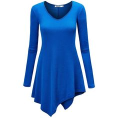 LL Womens Long Sleeve Asymmetrical Hem Trapeze Tunic Top Made in USA ❤ liked on Polyvore featuring tops, tunics, asymmetrical hem top, blue long sleeve top, trapeze tunic, long sleeve tops and long sleeve tunic