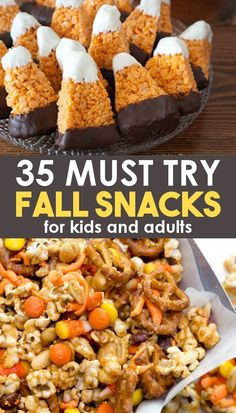 35 Must Try Fall Snacks! - - 35 Must Try Fall Snacks! Fall Perfect fall snacks for party treats, for kids, and for adults! Easy and healthy options available! Make some cute fall snacks for lunchboxes or for work! Fall Snacks, Snacks Für Party, Snacks For Work, Party Treats, Halloween Snacks, Snacks Kids, Fall Party Foods, Fall Party Ideas, Quick Snacks For Kids