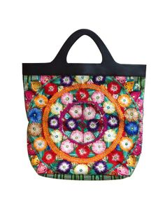 Colorful floral embroidered Chiapaneca tote bag