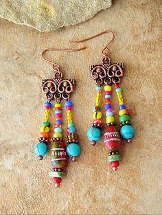 Colorful Earthy Earrings, Free Spirit, Gypsy Wanderer, Global Chic Dangle Earrings, Original Handmade Bohemian Jewelry by Kaye Kraus