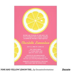 "PINK AND YELLOW LEMON THEMED BRIDAL SHOWER 5"" X 7"" INVITATION CARD"