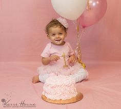 Babies First Birthday, Pink and Gold smash cake.  Headband by JassyRoseBoutique  www.etsy.com/jassyroseboutique