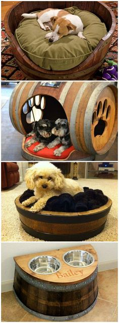 Wine Barrel Dog Beds--Love the dog house and the food/water bowls storage Wine Barrel Dog Bed, Barrel Dog House, Diy Dog Crate, Diy Dog Bed, Dog Furniture, Barrel Furniture, Dog Rooms, Animal Projects, Dog Houses