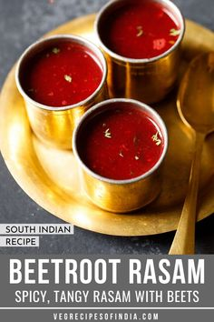 Beetroot Rasam Recipe with step by step pics. Beetroot Rasam is a spicy, tangy and delicious rasam variety having light sweet tones of the beetroot blending beautifully with the sour and spicy taste of tamarind, black pepper and dry red chilies. South Indian Vegetarian Recipes, Veg Recipes Of India, North Indian Recipes, South Indian Food, Indian Food Recipes, South Indian Chutney Recipes, Kerala Recipes, Indian Desserts, Vegetarian Vegetable Soup