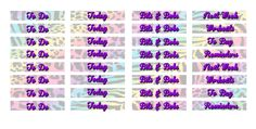 """sticker kit"" Lisa Frank MDN Headers (the happy planner by MAMBI) sticker. Free printable sticker layout may be subject to copyright not intended for retail; personal use only"