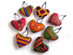 African Heart Ornaments African Print Hearts Ethnic Hearts African Ornaments 8 Fabric African Or African Christmas, Moda Afro, Tilda Toy, African Theme, African Crafts, Fabric Hearts, Fabric Ornaments, Heart Ornament, African Fabric
