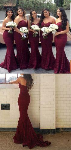 burgundy lace long bridesmaid dress, 2017 bridesmaid dress, strapless mermaid long bridesmaid dress, wedding party dress