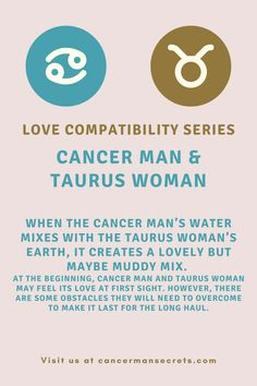At the beginning of the Cancer man and Taurus woman relationship, they will seem to have quite a bit in common which makes them feel somewhat comfortable from the get go. However, there are some obstacles that they will need to overcome to make it last for the long haul. Keep reading and find out everything about this match! Cancer Man Taurus Woman, Love Compatibility, Long Haul, Love At First Sight, Relationship, Feelings, Reading, Women, Reading Books