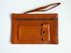 Vintage 70s Wrist Bag Men Wallet  Brown Orange by EuroVintage, €26.00