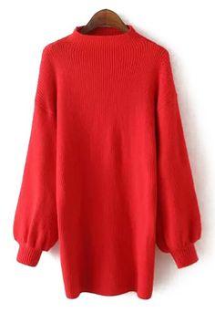 High Collar Lantern Sleeve Long Sweater