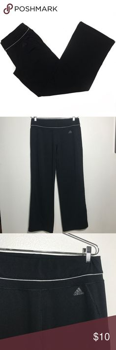 Adidas Wide Leg Workout Pants • Plain black wide leg yoga pants with climalite technology. These are great for working out or lounge wear. These are in great condition and show no signs of wear. adidas Pants Track Pants & Joggers