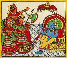 Krishna as the King of Dwarka (Phad Painting on Cloth - Unframed) Pichwai Paintings, Indian Art Paintings, Indian Artwork, Indian Folk Art, Madhubani Art, Madhubani Painting, Phad Painting, Indian Traditional Paintings, Indian Drawing