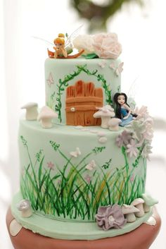 1000 images about tinkerbell and pixie hollow theme on for Fairy garden birthday cake designs