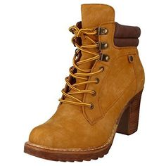 30fd9470855d67 Ladies Lace Up Front Suede Smart High Block Cleated Heel Shoes Ankle Boots