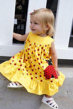 Girls Dress, Ladybug, Toddler Applique Dress, Ruffles, Children Clothing, Yellow, Size 1,  2, 3, 4. $47.00, via Etsy.