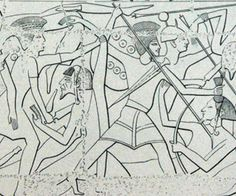 """Sherden and what seems to be the Peleset or the Denyen are fighting as mercenaries for the Faraoh's army. In this relief from Medinet Habu the Peleset or Denyen are represented with a medium size round shiled with several embossed elements on its surface. They are equipped with a light kiton, a long sword beared on the chest and a long spear. The helmet seems different from the typic """"feathered"""" ones being its lower part similar to a rigid cap which covers the entire head including the ears."""
