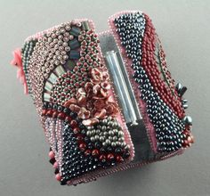 "Bead embroidered bracelet ""Sakura"" from ""Textured Bead Embroidery"" by Linda K Landy"