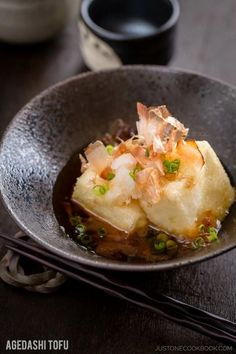 Agedashi Tofu 揚げ出し豆腐 - A popular appetizer menu at Izakayas and Japanese restaurants, Agedashi tofu is crispy deep fried tofu served in flavorful tsuyu sauce with grated radish, green onion, and bonito flakes as toppings. #japanesefood #tofurecipes #asianrecipes #appetizers | Easy Japanese Recipes at JustOneCookbook.com Easy Japanese Recipes, Japanese Dishes, Japanese Food, Asian Recipes, Ethnic Recipes, Vietnamese Recipes, Chinese Recipes, Mexican Recipes, Japanese Appetizers