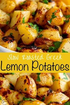 For a different and delicious side dish why not try these Authentic Slow Roasted.For a different and delicious side dish why not try these Authentic Slow Roasted Greek Lemon Potatoes. They are packed full of flavor thanks to the cooking meth Potato Side Dishes, Vegetable Dishes, Good Side Dishes, Lamb Side Dishes, Vegan Side Dishes, Recipes Potatoes Side Dishes, Side Dish With Fish, Vegan Recipes With Potatoes, Sides With Fish