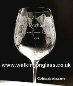 2 Dog Portraits on a large Crystal Wine glass... Hand Drill Engraved by Alexis Valentine of www.facebook.com / walkingonglass.co.uk