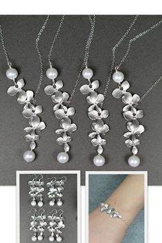 Wedding Jewelry Bridesmaid Gift Bridesmaid Jewelry Bridal Jewelry White Swarovski Round Pearl Drop NECKLACE LARIAT  silver orchid flower