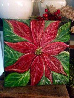 poinsettia painting Christmas painting Christmas decor