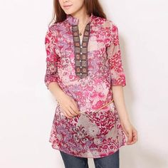 Chiffon floral print half sleeve stand collar blouse
