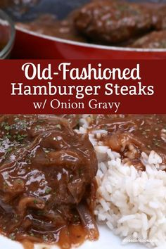 Southern Hamburger Steak & Onion Gravy Od-Fashioned Hamburger Steaks w/ Onion Gravy Related posts: Hamburger steak. An easy ground hamburger meat recipe topped with mushroom gravy… Hamburger Steak & Gravy Hamburger Steak Recipes, Hamburger Steak And Gravy, Hamburger Dishes, Grilled Steak Recipes, Beef Dishes, Food Dishes, Hamburger Patties, Hamburger Recipes For Dinner, Chopped Steak Recipes