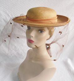 1950's Vintage Wide Brim Straw Hat with Tie by MyVintageHatShop