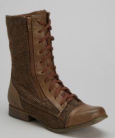 Brown Herringbone Bobby Boot